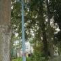 Polkowo - Wysoki tradycyjny krzyż drewniany przy wjeździe do wioski