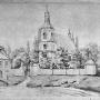 Akwarela Napoleona Ordy przedstawiająca stary kościół jeszcze przed rozbudową. Ilustracja pochodzi z wydanego w XIX wieku Albumu widoków Polski.