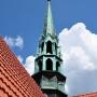 Wieżyczka na przecięciu nawy głównej i transeptu z bliska.