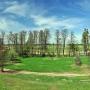 Panorama z wieży widokowej na bocianią wioskę.