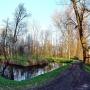 Boczny kanał w pałacowym parku wczesną wiosną.
