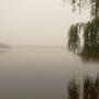 Mglisty jesienny dzień nad jeziorem Necko.
